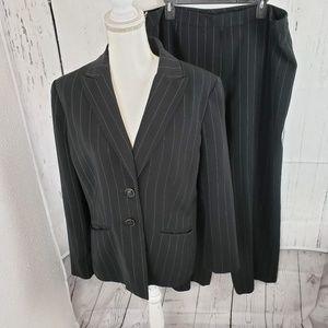 Kasper Black Pinstripe Pant Suit Work Career